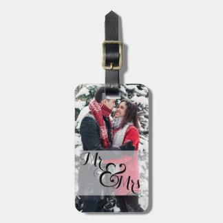 Étiquette À Bagage Anneau de mariage de M. et de Mme Newlywed Photo