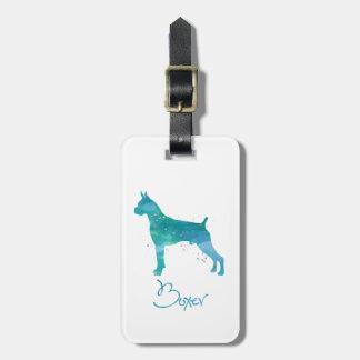 Étiquette À Bagage Aquarelle de chien de boxeur