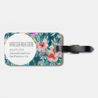 Étiquette À Bagage Aquarelle florale tropicale colorée de WOOT