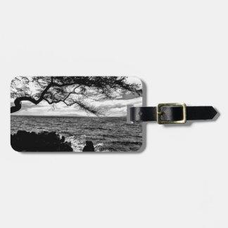 Étiquette À Bagage Arbre d'Oceanside en Hawaï noire et blanche