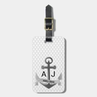 Étiquette À Bagage Argent nautique de Quatrefoil de vacances de