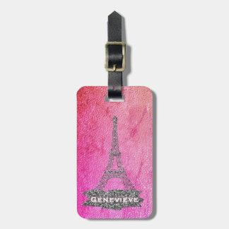 Étiquette À Bagage Argent rose Girly de Paris   de Tour Eiffel pour