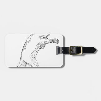 Étiquette À Bagage Art de boxe de griffonnage d'ours gris
