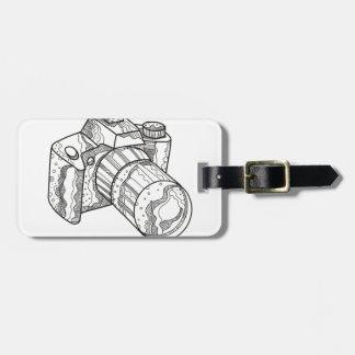 Étiquette À Bagage Art de griffonnage d'appareil-photo de DSLR
