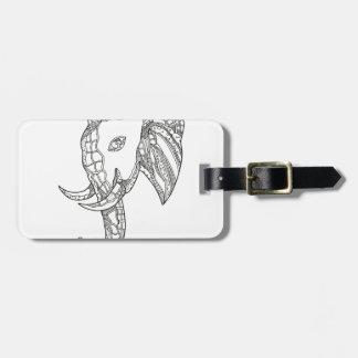 Étiquette À Bagage Art de griffonnage de tête d'éléphant de Taureau
