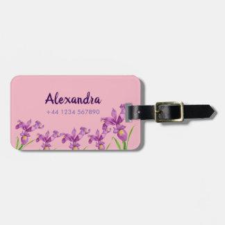 Étiquette À Bagage Art floral botanique d'iris pourpre d'aquarelle
