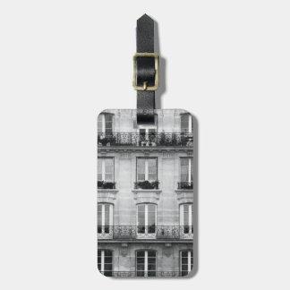 Étiquette À Bagage Bâtiment vintage noir et blanc du voyage   à Paris