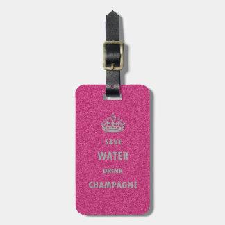 Étiquette À Bagage Beau Cr girly frais de champagne de boissons de