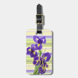 Étiquette À Bagage Beau motif pourpre de rayures d'aquarelle d'iris