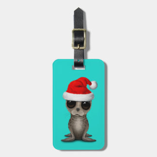 Étiquette À Bagage Bébé phoque utilisant un casquette de Père Noël