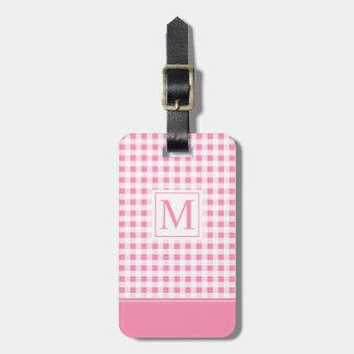 Étiquette À Bagage Belle étiquette Checkered rose de bagage du