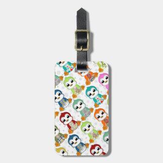 Étiquette À Bagage Belles fleurs colorées mignonnes de pingouins