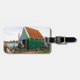 Étiquette À Bagage Bicyclettes, village néerlandais de moulin à vent,
