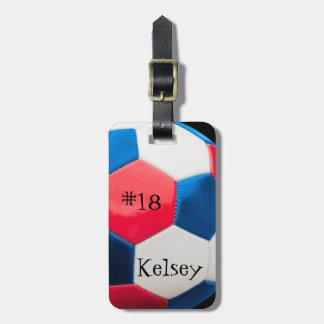 Étiquette À Bagage Blanc et bleu rouges, étiquette de sac du football