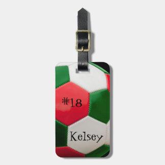 Étiquette À Bagage Blanc et vert rouges, étiquette de sac du football