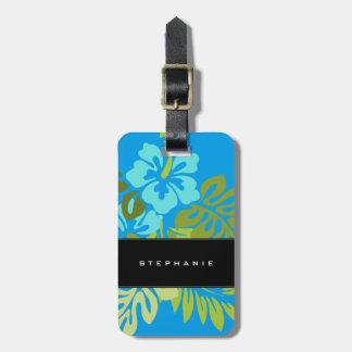 Étiquette À Bagage Bleu azuré de ketmie tropicale moderne de plage