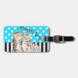 Étiquette À Bagage Bleu de point de polka d'amour de chats du Bengale