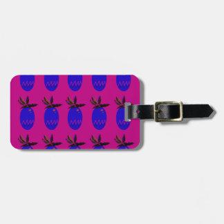 Étiquette À Bagage Bleu de rose d'ananases de conception
