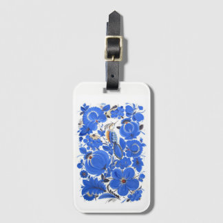 Étiquette À Bagage Bleu d'étiquette de bagage d'art populaire de