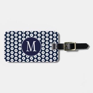 Étiquette À Bagage Bleu marine avec les points et le monogramme