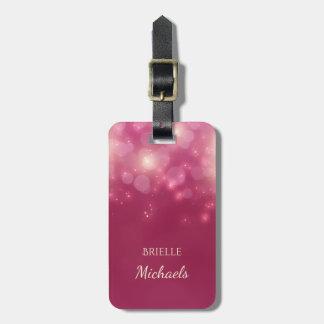 Étiquette À Bagage Bokeh fascinant rose foncé Luxe miroite avec le