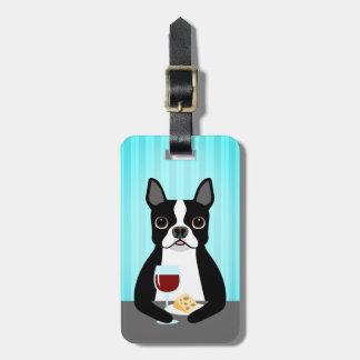 Étiquette À Bagage Boston Terrier buvant du vin et mangeant