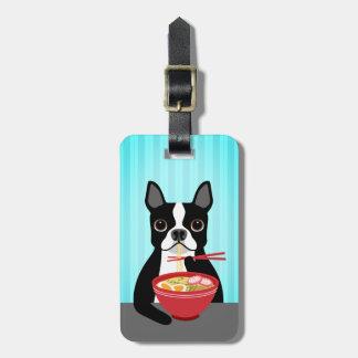 Étiquette À Bagage Boston Terrier mangeant l'étiquette de bagage de