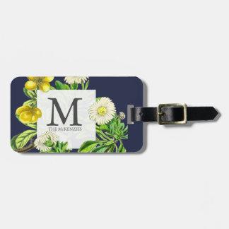 Étiquette À Bagage Botanique floral de monogramme élégant