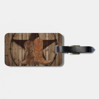 Étiquette À Bagage Bottes de cowboy en bois de pays occidental