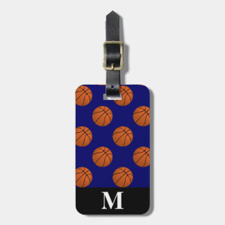 Étiquette À Bagage Boules de basket-ball de Brown de monogramme, bleu