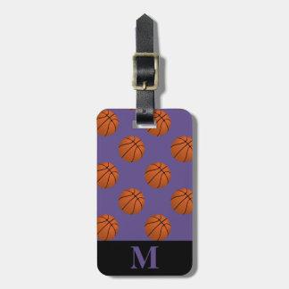 Étiquette À Bagage Boules de basket-ball de Brown de monogramme sur