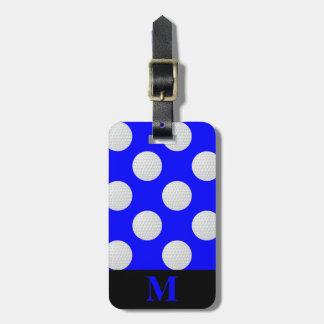 Étiquette À Bagage Boules de golf blanches de monogramme, bleues