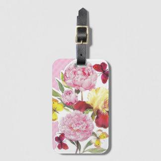 Étiquette À Bagage Bouquet rose et jaune floral d'iris de papillon
