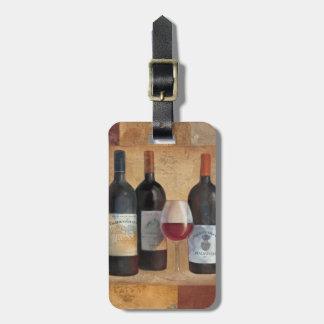 Étiquette À Bagage Bouteilles de vin avec le verre