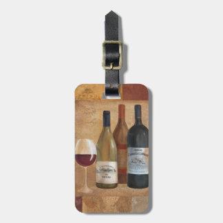 Étiquette À Bagage Bouteilles de vin vintages et verre de vin