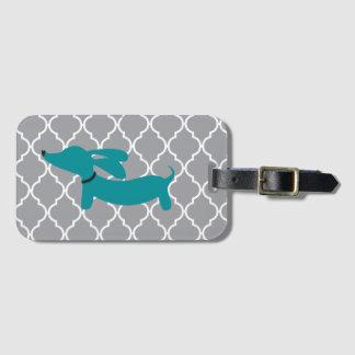 Étiquette À Bagage Cadeau bleu d'étiquette de sac de bagage de teckel