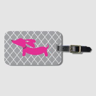 Étiquette À Bagage Cadeau rose d'étiquette de sac de bagage de teckel