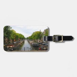 Étiquette À Bagage Canal, ponts, vélos, bateaux, Amsterdam, Hollande