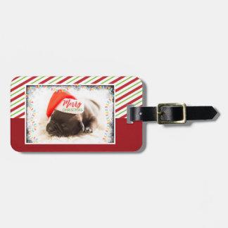 Étiquette À Bagage Carlin de Noël dans le casquette de Père Noël avec