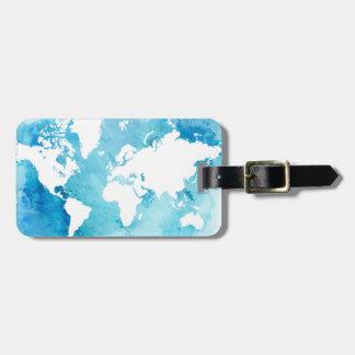 Étiquette À Bagage Carte du monde dans des bleus d'aquarelle