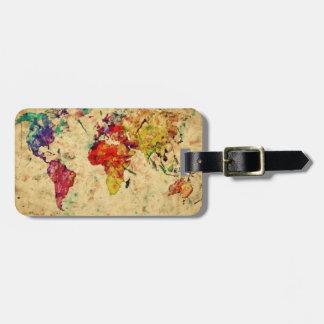 Étiquette À Bagage Carte vintage du monde