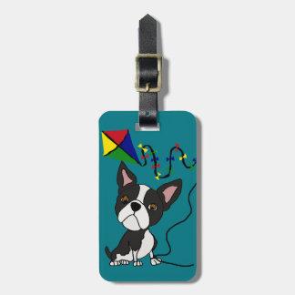 Étiquette À Bagage Cerf-volant mignon de vol de chien de Boston