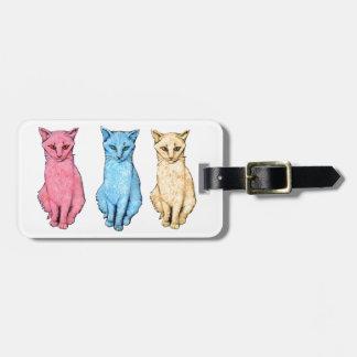 Étiquette À Bagage Chat rouge, chat bleu, chat jaune