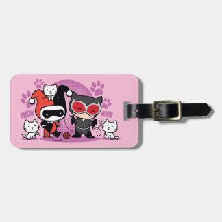 Étiquette À Bagage Chibi Harley Quinn et Catwoman de Chibi avec des