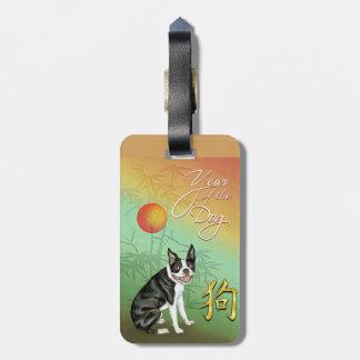 Étiquette À Bagage Chien chinois Boston de nouvelle année et lune