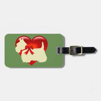 Étiquette À Bagage Chien de Terrier d'écossais, coeur rouge, arc,