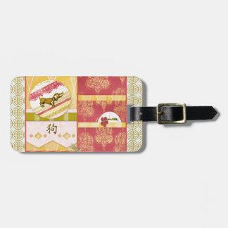 Étiquette À Bagage Chien d'or de teckel, résumé, damassé, conception
