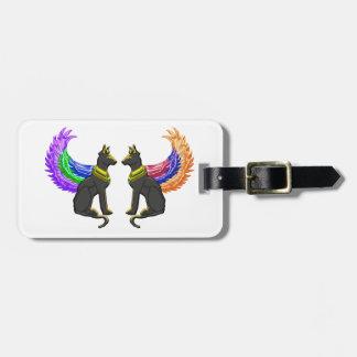 Étiquette À Bagage chien égyptien avec des ailes