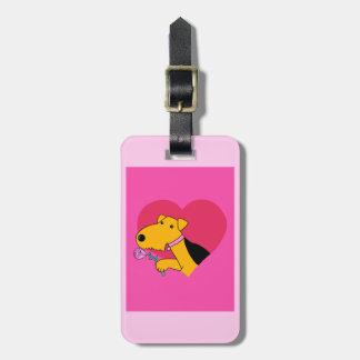 Étiquette À Bagage Chien W d'Airedale Terrier rose et étiquette de
