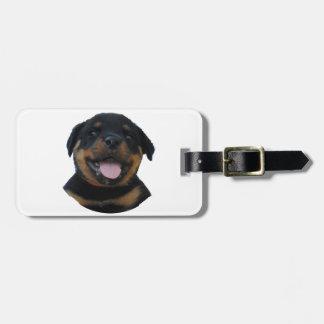 Étiquette À Bagage Chiot masculin heureux de rottweiler